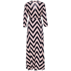 Vintage Stripe Print Long Floor Length Maxi Dress