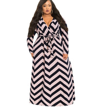 Load image into Gallery viewer, Vintage Stripe Print Long Floor Length Maxi Dress