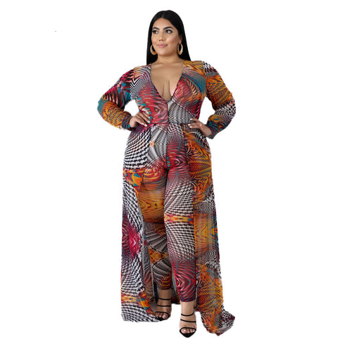Plus Size Autumn V-Neck Boho Long Sleeve One Piece Jumpsuit
