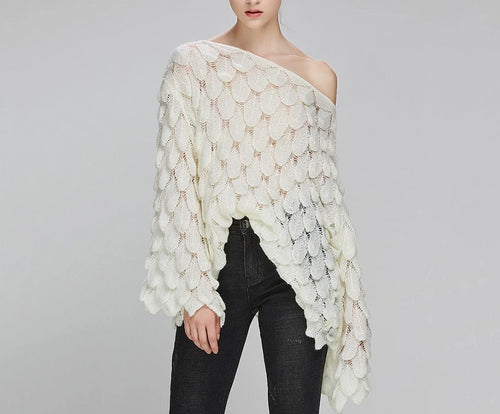 Long Bell Sleeve Feather Knit V Neck Off-Shoulder Sweater