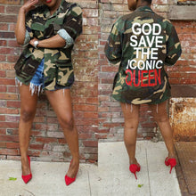 Load image into Gallery viewer, Green Camouflage Letter Printed Back Turn Down Collar Long Sleeve Jacket