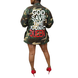 Green Camouflage Letter Printed Back Turn Down Collar Long Sleeve Jacket