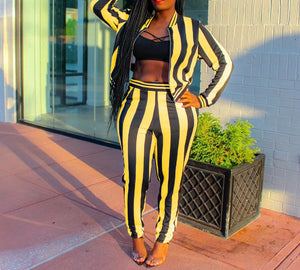 Two Piece Stripe Long Sleeve Jackets And Pants Set