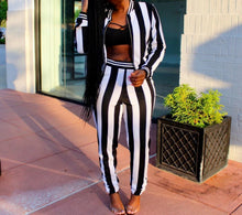 Load image into Gallery viewer, Two Piece Stripe Long Sleeve Jackets And Pants Set