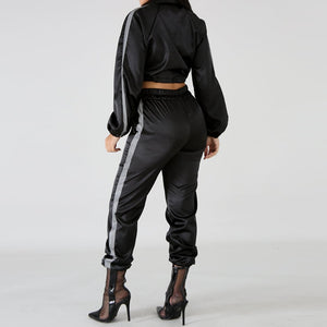 Reflective Two Piece Long Sleeve Turn-Down Collar Crop Top And Pants Set