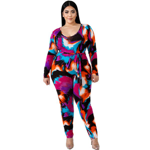 Plus Size Long Sleeve Round Neck Casual Jumpsuit Slim Fitting Jumpsuit