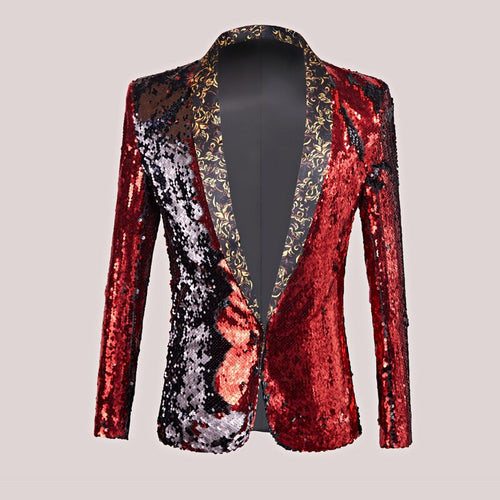 Men's Two-Color Sequins Slim Blazer