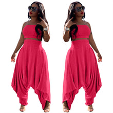 Load image into Gallery viewer, Two Piece Solid Color Strapless Crop Top Harem Pants Set