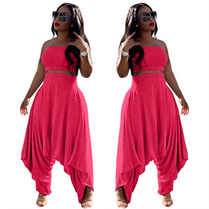 Two Piece Solid Color Strapless Crop Top Harem Pants Set