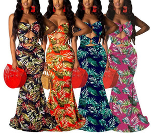 Strapless Cut Out Leaf Print Mermaid Long Maxi Dress