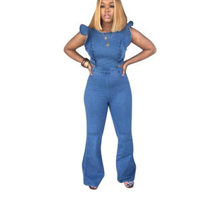 Ruffles Side High Waist Cut Out Back Wide Leg Jumpsuit