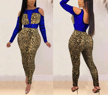 Load image into Gallery viewer, Open Back Zip See Through Mesh Leopard Print Jumpsuit