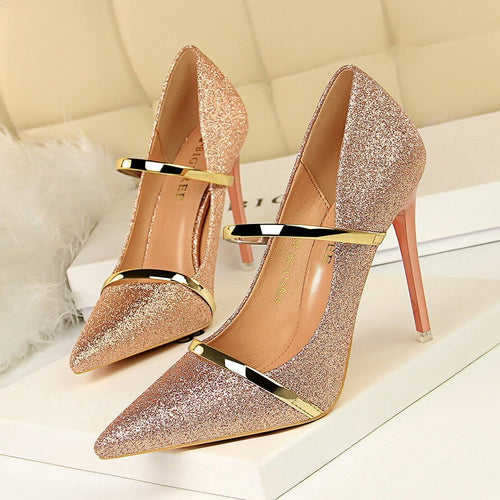 Sequin Pointed Gold /Silver High Heels Wedding Shoes