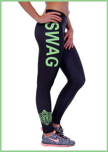 SWAG Letter Print Workout Leggings