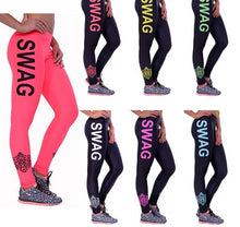 Load image into Gallery viewer, SWAG Letter Print Workout Leggings