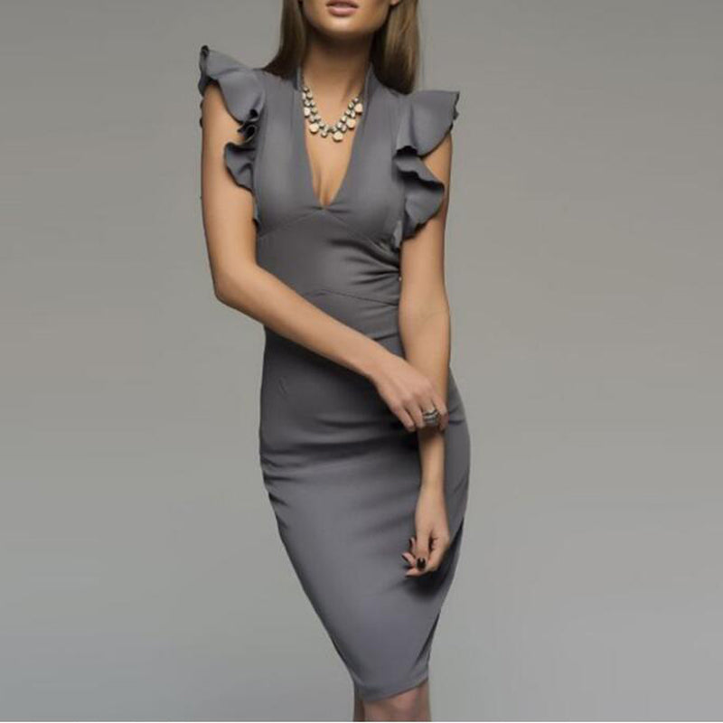 Ruffles sleeve Elegant Bodycon V-Neck Dress - kats closet1