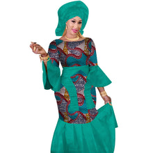 Load image into Gallery viewer, African 100% Cotton African Print Maxi Dress With Head Scarf - kats closet1