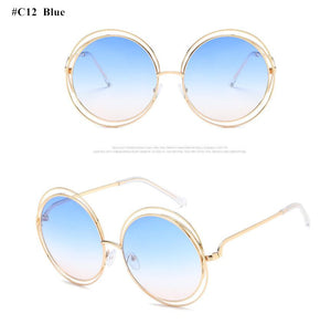 Round Clear Large Size Retro Mirror Sunglasses - kats closet1