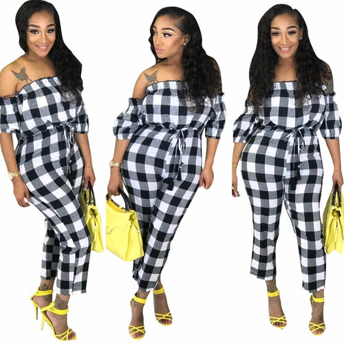 Black White Plaid Short Sleeve Jumpsuit - kats closet1