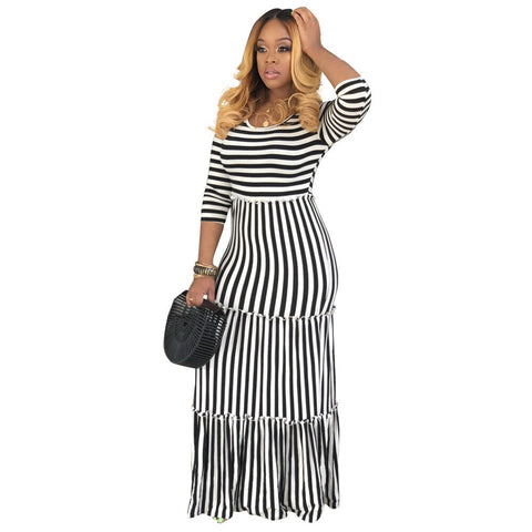 Black White Stripe Bohemian Long Three Quarter Sleeve Dress