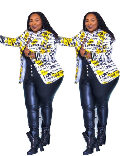Plus Size Black Letter Printed Fashion Long Sleeve Jacket