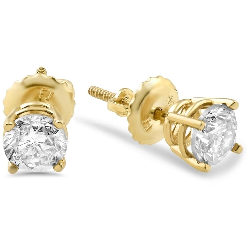 Bliss 14k Yellow Gold 5/8 ct TDW Screw Back Diamond Studs - White - kats closet1