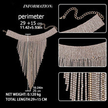 Load image into Gallery viewer, Tassel Rhinestone Crystal Big Choker Long Necklace