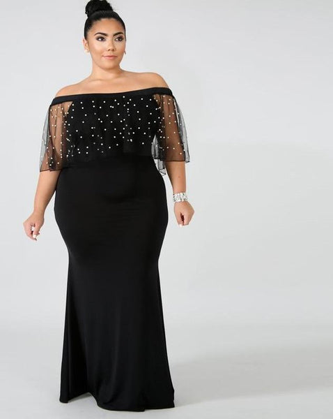Sexy Black Pearl Beading Off The Shoulder Mesh Party Mermaid Long Dress XXXXL