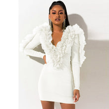 Load image into Gallery viewer, Ruffles Mesh Long Sleeve Party Mini Dress