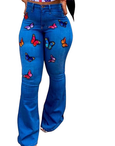 Butterfly Embroidery Flare Pants Denim Skinny High Waist Jeans