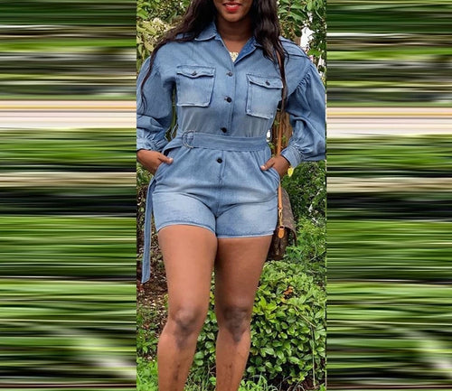 Button Up Washed Denim Turn Down Collar Long Sleeve Short Jumpsuit
