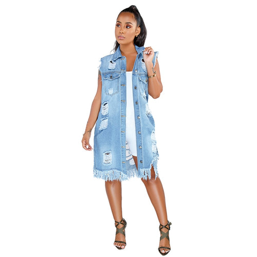 Denim Loose Turn Down Collar Sleeveless Tassels Dress