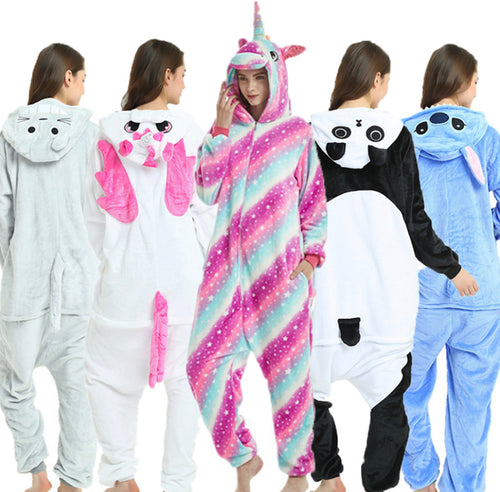 Unisex Adults Animal Pajamas Onesie Flannel Cartoon Sleepwear