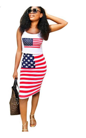 American Flag Print Two Piece Bandage Halter Crop Top Set