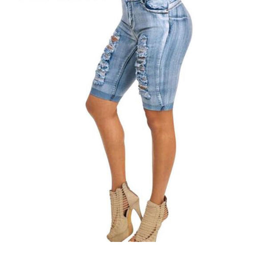High Waist Skinny Holes Pockets Knee Length Denim Shorts - kats closet1