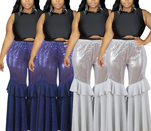 Plus Size Sequin Casual Ruffles Patchwork Wide Leg Pants