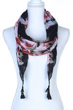 Load image into Gallery viewer, Floral Pattern Tassel Oblong Scarf