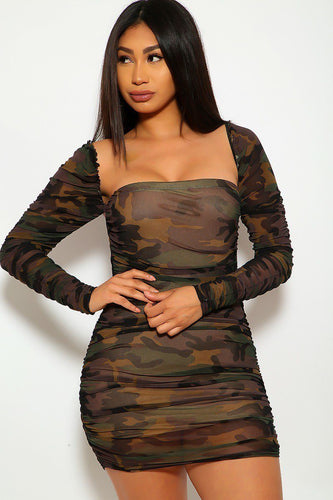 Camouflage Mesh Ruched Bodycon Tube Dress