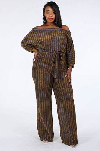 Plus Size Metallic Stripe Jumpsuit