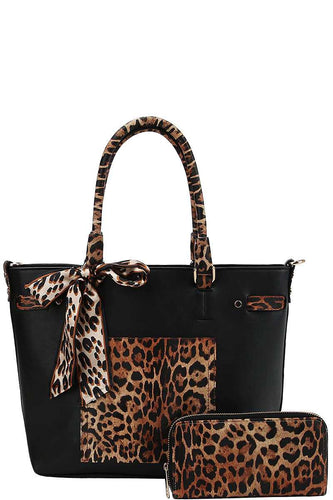 2 in 1 Leopard Two Tone Scarf Tote Bag With Matching Wallet