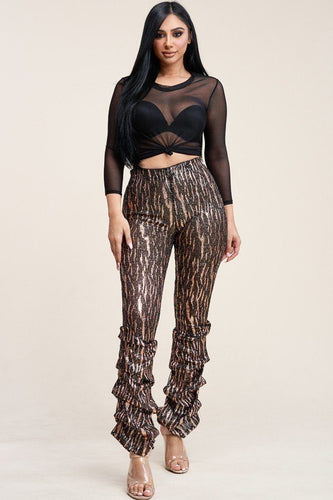 Sequin High Rise Stacked Pants And Mesh Top Two Piece Set