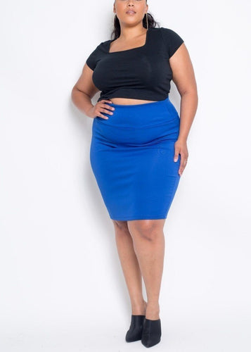 Plus Size Blue Everyday Basic High Waist Pencil Midi Skirt