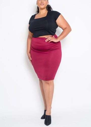 Plus Size Burgundy Everyday Basic High Waist Pencil Midi Skirt