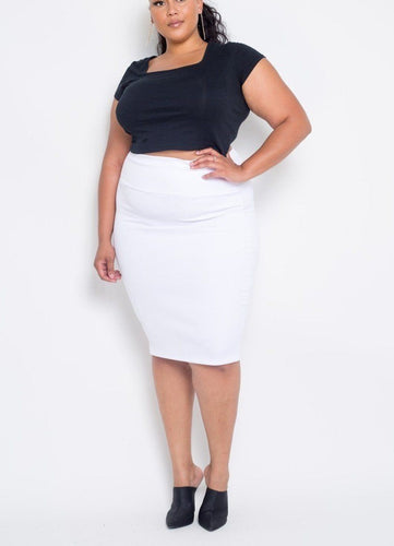 Plus Size White Everyday Basic High Waist Pencil Midi Skirt