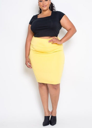 Plus Size Yellow  Everyday Basic High Waist Pencil Midi Skirt