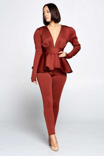 Long Sleeve Deep V Neckline Bow Top With Waist Tie And Waist Pants