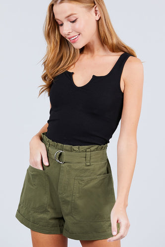 Side Pocket Rolled Up Paper Bag Cotton Short Pants