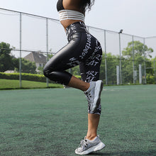 Load image into Gallery viewer, High Waist Fitness  Leather Workout Letter Print Leggings