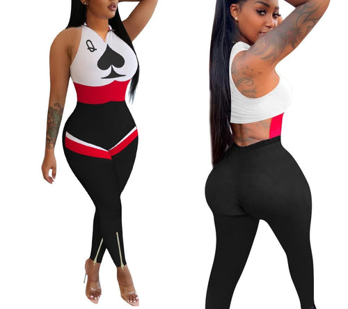 Club Poker Card Sleeveless Zipper Up Cut Out Back One Piece Jumpsuit