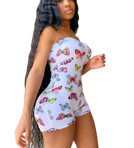 Butterfly Strapless Sleeveless One Piece Romper